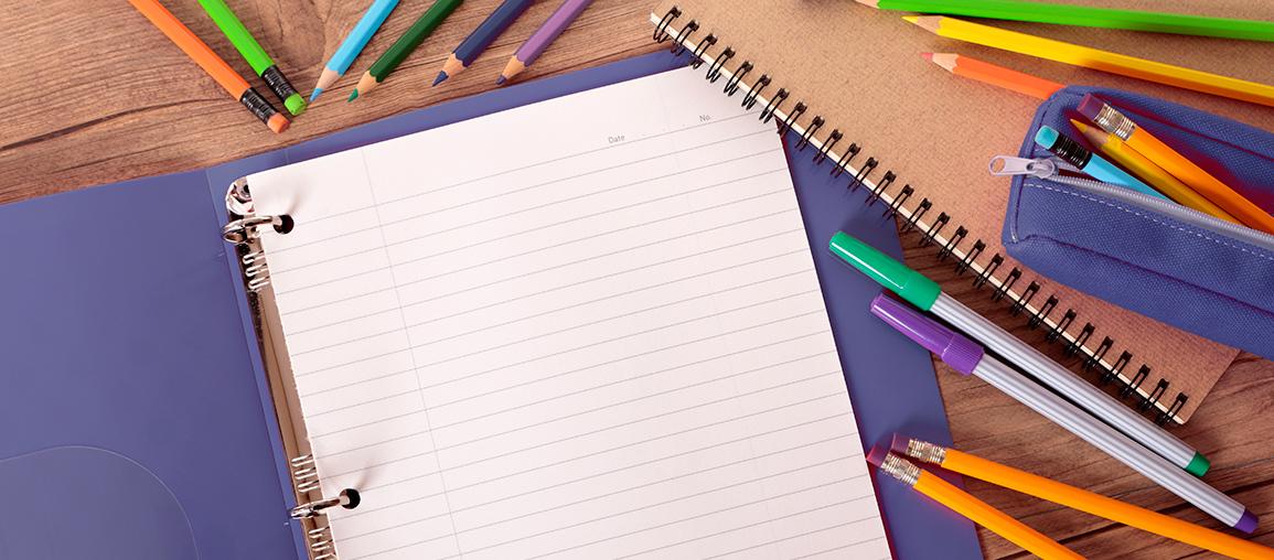 binder, pens, pencils - school supplies