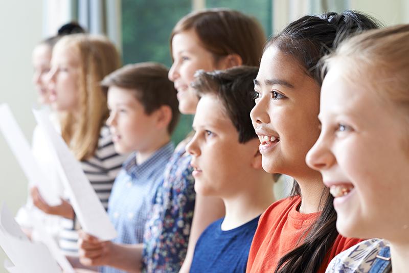 kids singing at choir practice