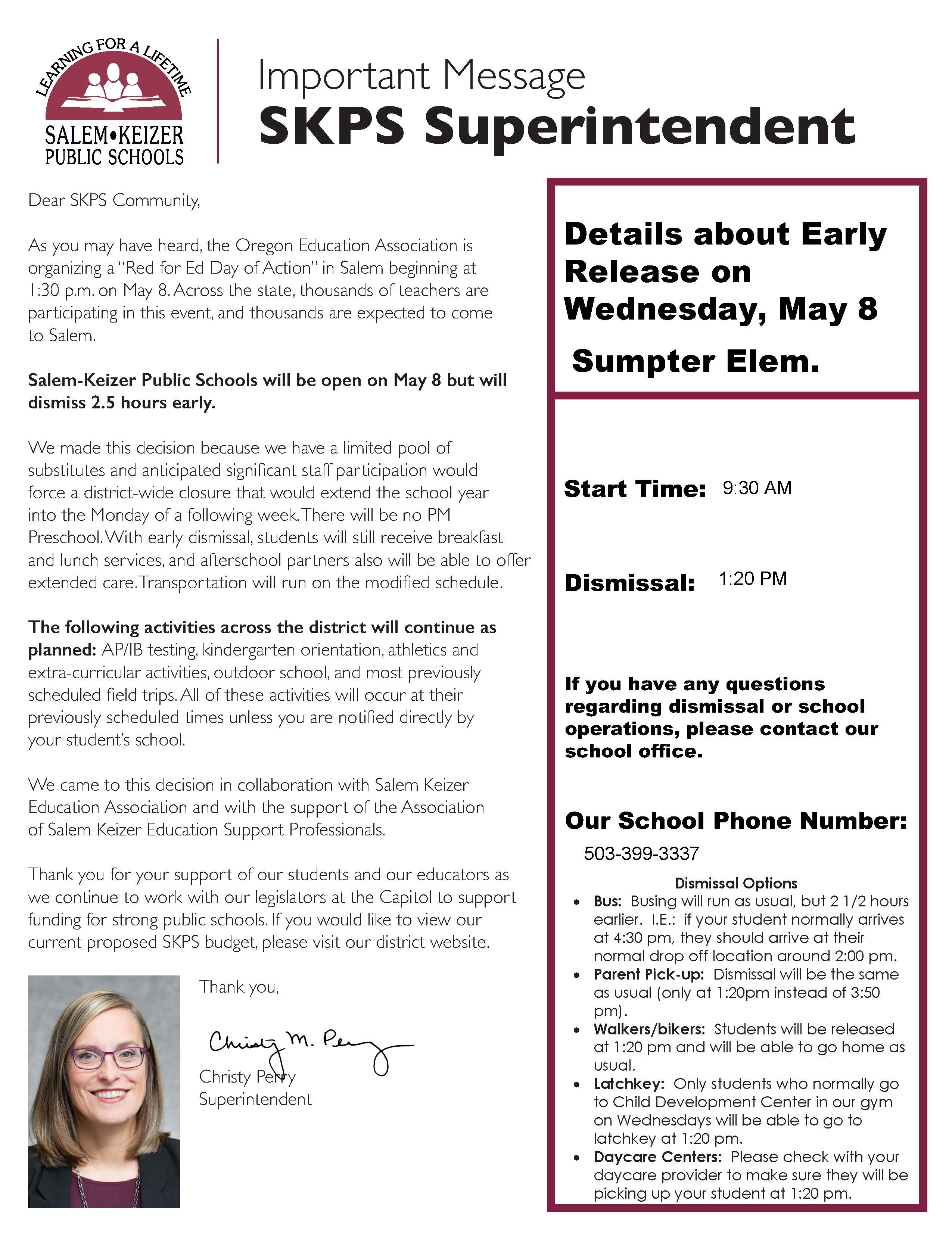 Early Release on Wednesday, May 8th